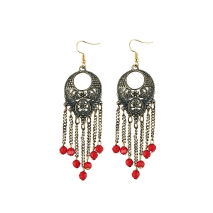 Generic Women's Gold Plated Designer Hanging Beads Earrings-Silver