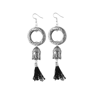 Generic Women's Oxidized Silver plated Buddha Style Earrings-Silver