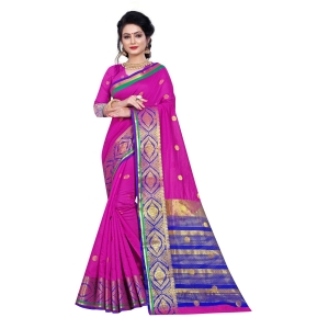 Generic Women's Cotton Saree With Blouse (Magenta, 5-6 Mtrs)