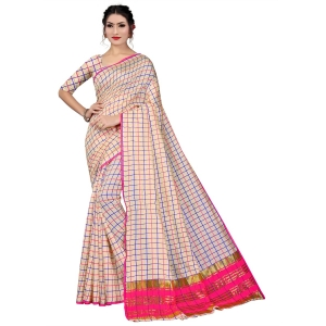 Generic Women's Art Silk Saree With Blouse (White, 5-6 Mtrs)