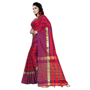 Generic Women's Cotton Saree With Blouse (Red, 5-6 Mtrs)