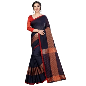 Generic Women's Cotton Saree With Blouse (Navy Blue, 5-6 Mtrs)