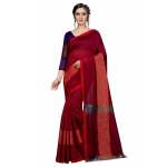 Generic Women's Cotton Saree With Blouse (Maroon, 5-6 Mtrs)