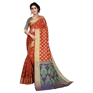 Generic Women's Sana Silk Jacquard Saree With Blouse (Red, 5-6 Mtrs)