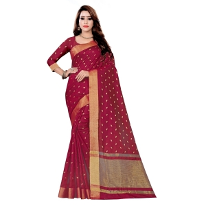 Generic Women's Art Silk Saree With Blouse (Maroon, 5-6 Mtrs)