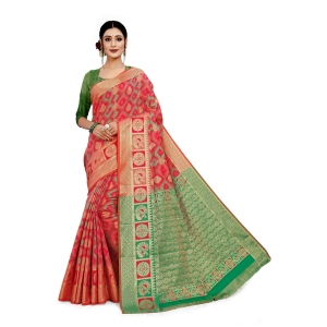 Generic Women's Cotton Silk, Jacqaurd Saree With Blouse (Multi Colored, 5-6 Mtrs)