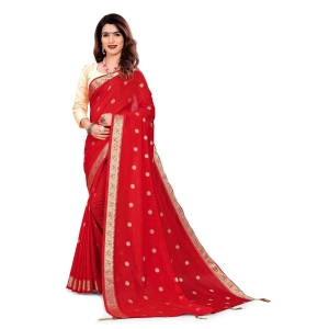 Generic Women's Vichitra Silk Saree With Blouse (Red, 5-6 Mtrs)