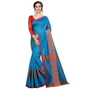 Generic Women's Cotton Saree With Blouse (Sky Blue, 5-6 Mtrs)