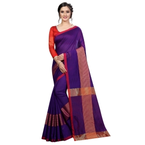 Generic Women's Cotton Saree With Blouse (Purple, 5-6 Mtrs)