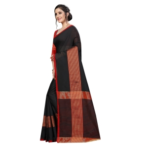 Generic Women's Cotton Saree With Blouse (Black, 5-6 Mtrs)