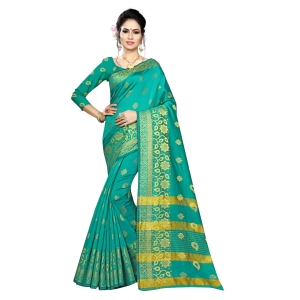Generic Women's Silk Blend Saree With Blouse (Green, 5-6 Mtrs)