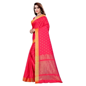 Generic Women's Art Silk Saree With Blouse (Pink, 5-6 Mtrs)