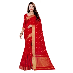Generic Women's Art Silk Saree With Blouse (Red, 5-6 Mtrs)