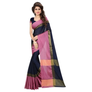 Generic Women's Aura Cotton Saree With Blouse (Blue, 5-6 Mtrs)