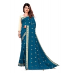 Generic Women's Vichitra Silk Saree With Blouse (Blue, 5-6 Mtrs)