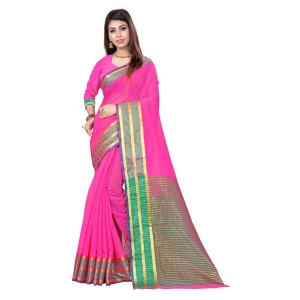 Generic Women's Cotton, Jacquard Saree With Blouse (Pink, 5-6 Mtrs)