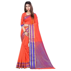 Generic Women's Cotton, Jacquard Saree With Blouse (Peach, 5-6 Mtrs)
