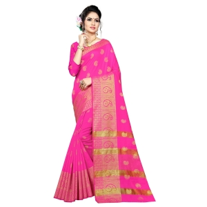 Generic Women's Silk Blend Saree With Blouse (Pink, 5-6 Mtrs)
