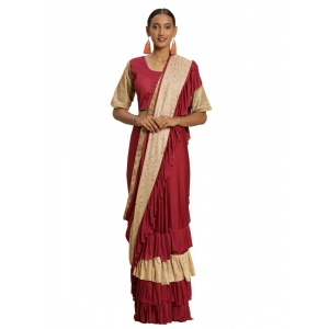 Generic Women's Malai Saree with Blouse (Maroon, 5-6mtr)