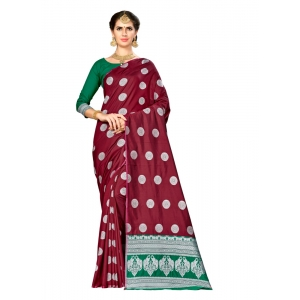 Generic Women's Banarasi silk Saree with Blouse (Maroon, 5-6mtr)