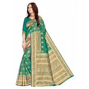 Turvi Women's Banarasi silk Saree with Blouse (Green, 5-6mtr)