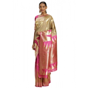 Turvi Women's Banarasi silk Saree with Blouse (Pink,beige, 5-6mtr)