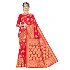 Turvi Women's Banarasi silk Saree with Blouse (Red, 5-6mtr)
