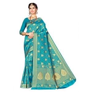 Generic Women's Banarasi silk Saree with Blouse (Blue, 5-6mtr)