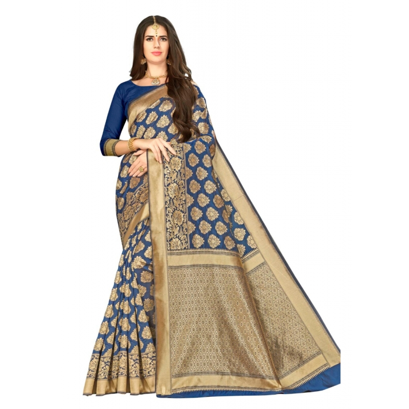 Turvi Women's Banarasi silk Saree with Blouse (Royal blue, 5-6mtr)