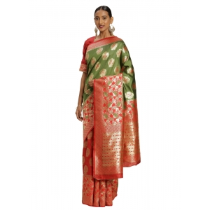 Generic Women's Banarasi silk Saree with Blouse (Red,green, 5-6mtr)