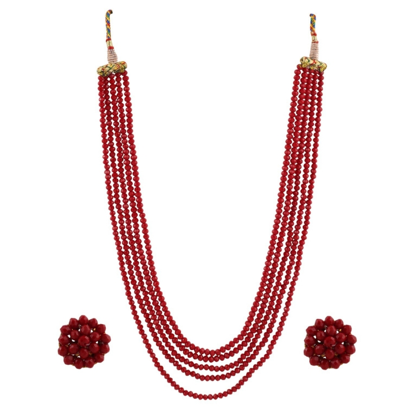 Five Layer Maroon Crystal Beads Necklace With Earrings