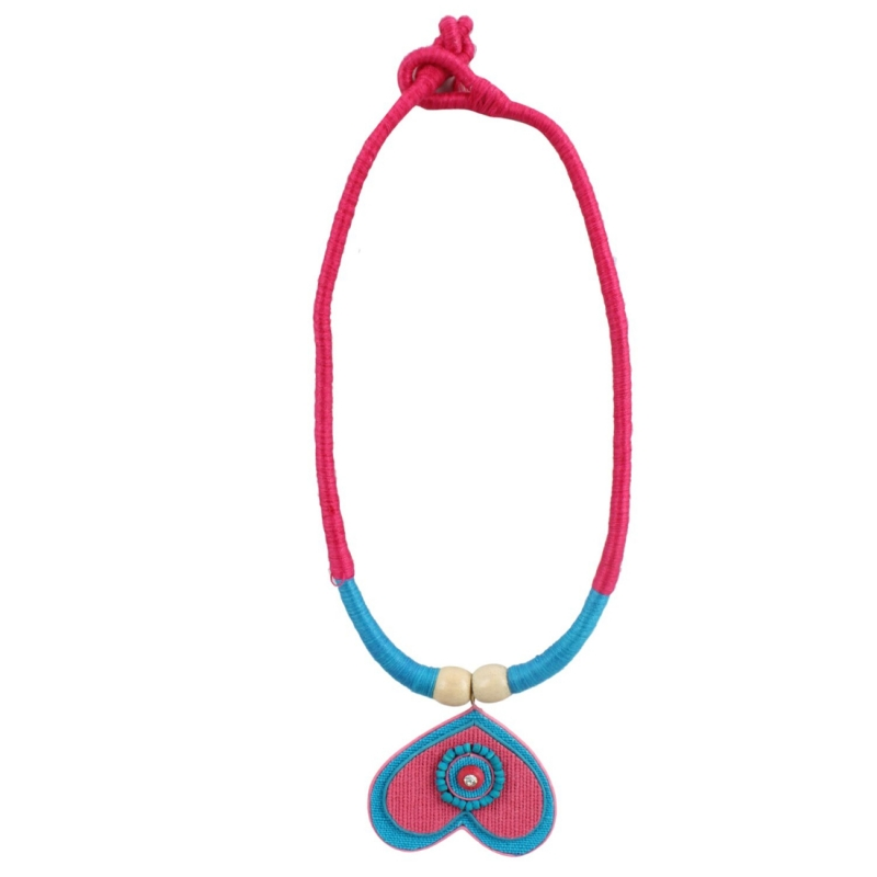 Designer Handcrafted Heart Shaped Multi Colour Thread and Jute Fashion Necklace