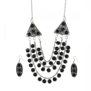 High Finished Silver and Black Natural Onyx Stone Designer Necklace with Earrings