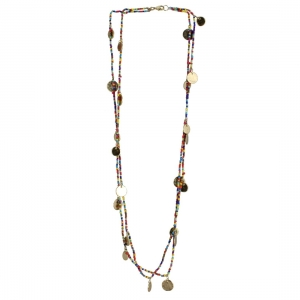 High Finished Golden Two Layer Designer Coin Necklace