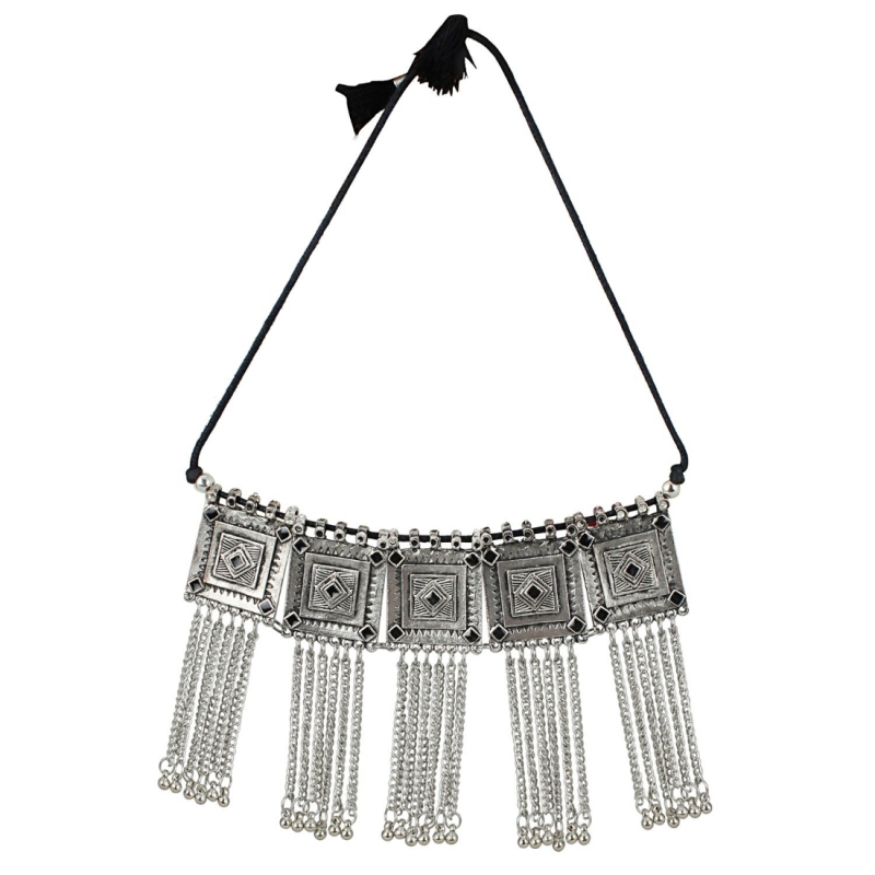 Black Oxidised Silver-Plated Floral Stone-Studded Afghani Necklace
