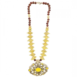 Designer Yellow and Golden Beads Necklace