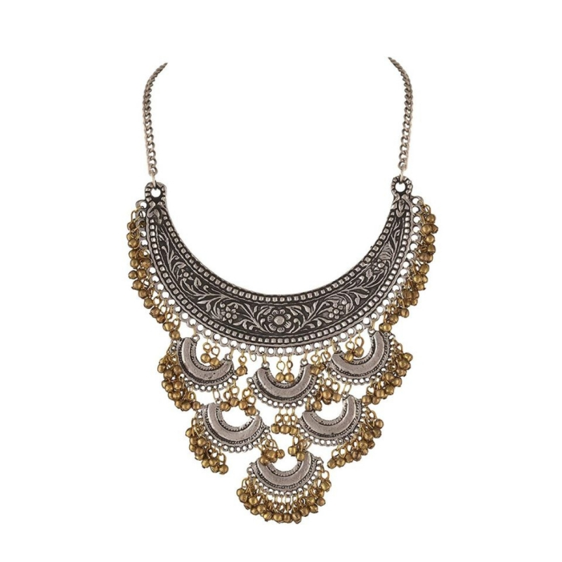 Designer Antique Oxidized Golden Ghunroo and Silver Fancy Necklace Fashion Jewellery
