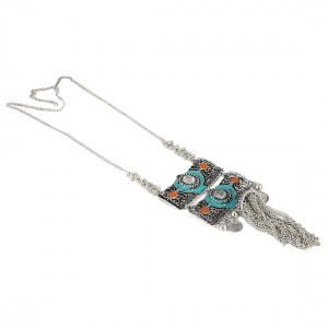 Afghani Designer Silver Turkish Style Oxidised German Chandbali Necklace Pendant Jewellery