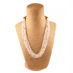 Beige and Red Tulsi Beads Necklace