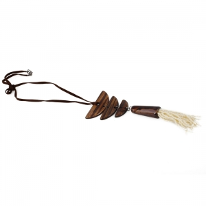 High Finished Brown Wooden Tibetan Style Beads Necklace