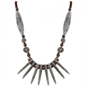 Designer High Finished Wooden Acrylic Tibetan Style Beads Necklace