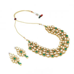 Green Gold Plated Traditional Kundan Necklace with Earrings