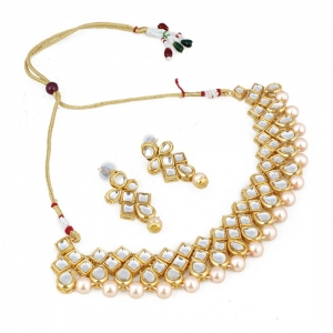 Designer Pearl Gold Plated Shining Kundan Necklace Set with Earrings