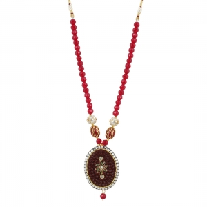 Stylish Maroon Golde Plated Traditional Kundan Necklace Set with Earrings
