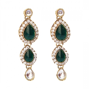 Traditional Green Stone Gold Plated Kundan Necklace Set with Earrings