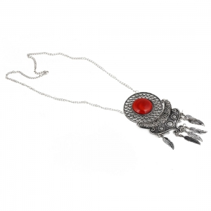 Silver and Red Stone Beads Afgani Silver Necklace