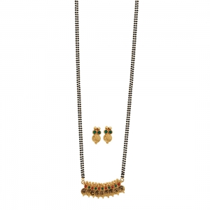 Temple Coin Gold Plated Malgalsutra Necklace With Earrings