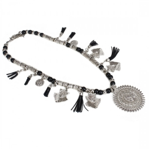 High Finished Silver and Black Beads Necklace