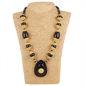 Designer Dark Brown and Golden Beads South Style Necklace