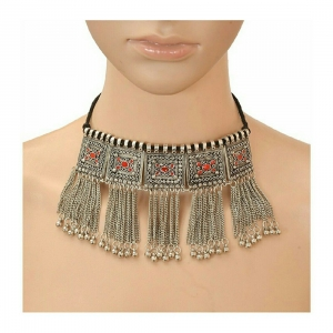 Handmade Antique Oxidized German Silver Choker Necklace Set